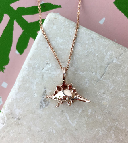 Mini Rose Gold Stegosaurus Dinosaur Necklace