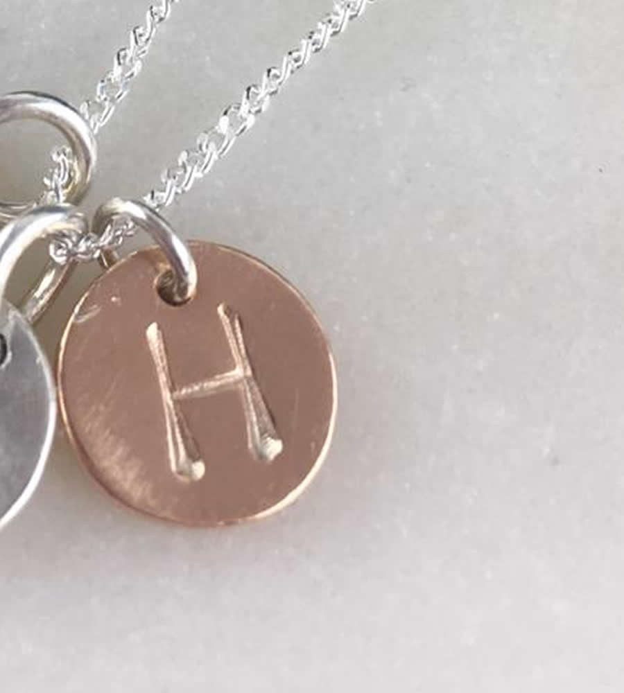 Rose Gold Initial Disc Charm