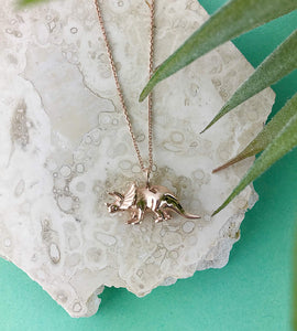 Rose Gold Triceratops Dinosaur Necklace