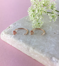 Load image into Gallery viewer, Rose Gold Heart Pull Through Earrings