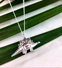 Load image into Gallery viewer, Sterling Silver Stegosaurus Dinosaur Necklace