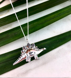 Sterling Silver Stegosaurus Dinosaur Necklace