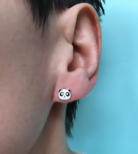 Sterling Silver Cute Panda Earrings
