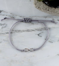 Load image into Gallery viewer, Sterling Silver Infinity Bracelet, Grey