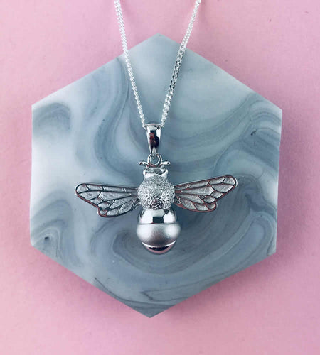 Sterling Silver Large Bee Necklace