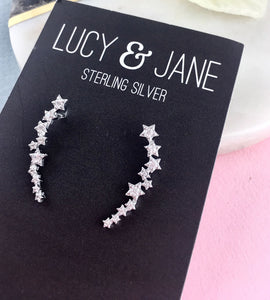 Sterling Silver Stars Climber Earrings