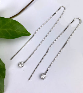 Sterling Silver Cubic Zirconia Pull Through Threader Earrings