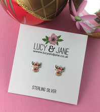 Load image into Gallery viewer, Sterling Silver Rudolph The Reindeer Studs
