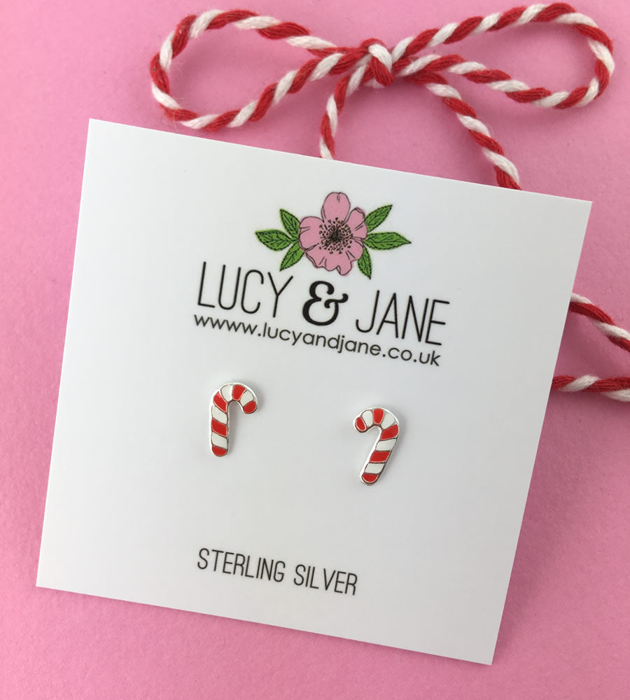 Sterling Silver Candy Cane Earrings