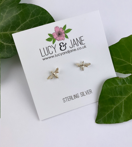 Sterling Silver Detailed Bee Studs