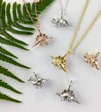Load image into Gallery viewer, Mini Gold Stegosaurus Dinosaur Necklace