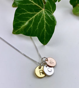 Sterling Silver Personalised Mixed Triple Disc Necklace