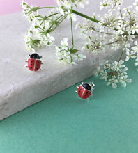 Load image into Gallery viewer, Sterling Silver Ladybird Earrings
