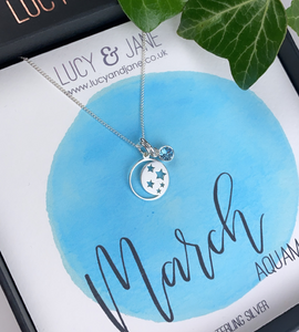 Sterling Silver Moon and Stars Birthstone Necklace
