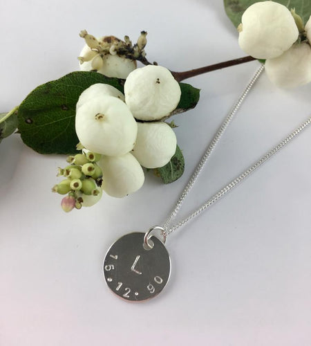 PRE-ORDER Sterling Silver Personalised Stamped Date Necklace
