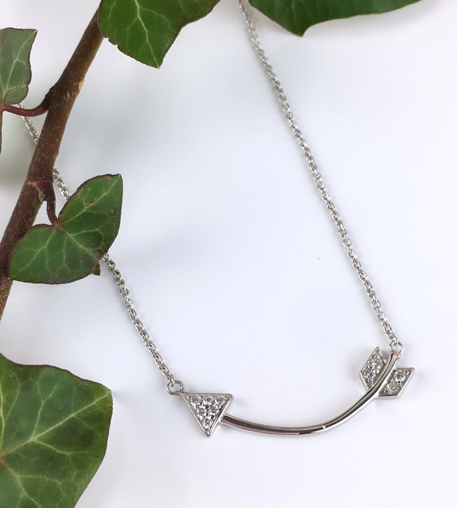 Sterling Silver Curved Arrow Necklace