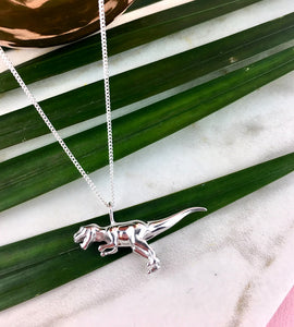 Sterling Silver T-Rex Dinosaur Necklace