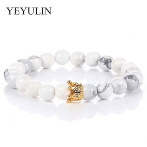 1 Pair Couple Crystal Gold Alloy Copper Rhinestone Crown White Black Stone Beaded Bracelet Women Men Fashion Jewelry Gift Bangle