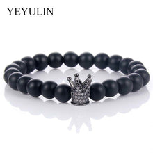 Load image into Gallery viewer, 1 Pair Couple Crystal Gold Alloy Copper Rhinestone Crown White Black Stone Beaded Bracelet Women Men Fashion Jewelry Gift Bangle