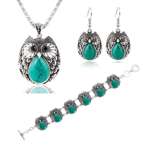 Jewelry Sets Vintage Green & Red Stone Pendant Necklace Owl Drop Earrings Charm Bracelet  For women