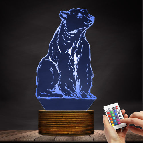 1Piece Animal Totem Polar Bear Night Light 3D Effect Optical Illusion The White Bear Desk Lamp Kid Room Nightlight Animal Themed