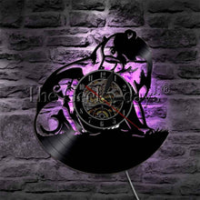 Load image into Gallery viewer, 1Piece Black Bear Family Silhouette Handmade Wall Lamp Bears LED Light Sign LED Lighting Clock Made Of Vinyl Record
