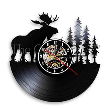 Load image into Gallery viewer, 1Piece Elk With Pine Tree Silhouette Vinyl Record Wall Clock With LED illumination Forest Wildlife Deer Antlers Home Decor Lamp