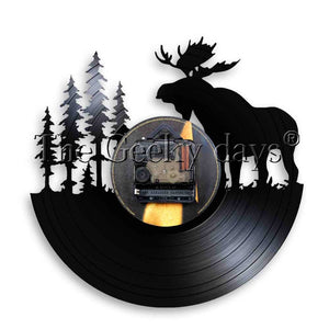 1Piece Elk With Pine Tree Silhouette Vinyl Record Wall Clock With LED illumination Forest Wildlife Deer Antlers Home Decor Lamp