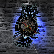 Load image into Gallery viewer, 1Piece Night Owl Retro Vinyl Record Wall Clock Animals Led Light Color Change Wall Light Remote Controller Wall Art Backlight