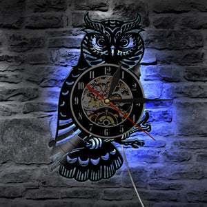 1Piece Night Owl Retro Vinyl Record Wall Clock Animals Led Light Color Change Wall Light Remote Controller Wall Art Backlight