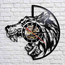 Load image into Gallery viewer, 1Piece Wolf Head Silhouette Wall Clocks Vinyl Record Art Decor