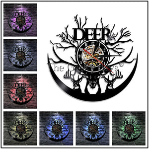 1Piece Woodland Animal Deer Vinyl Record Wall Clock Modern Wall Lamp Forest Birch Tree Deer Antlers Decorative Lighting