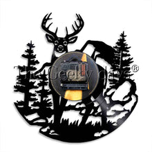 Load image into Gallery viewer, 1Piece Woodland Animal Deer Vinyl Record Wall Clock Modern Wall Lamp Forest Birch Tree Deer Antlers Decorative Lighting