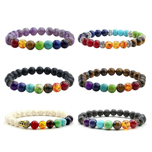 7 Chakra Bracelet Black Lava Healing Beads Prayer Natural Stone Bracelet