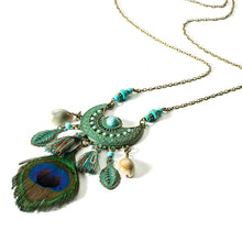 Load image into Gallery viewer, Ethnic Feather Women's  Moon Dream catcher Long tassel Necklaces