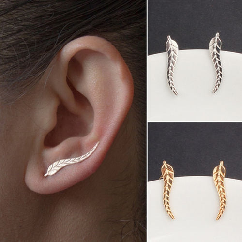 Exquisite Leaf Earrings Modern Beautiful Feather Stud Earrings