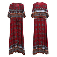 Load image into Gallery viewer, Bohemian print long dress women maxi dress