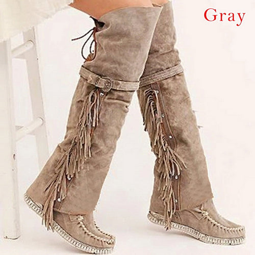 Boho Heel Boot Ethnic Women Tassel Fringe Faux Suede Leather Hight Boots