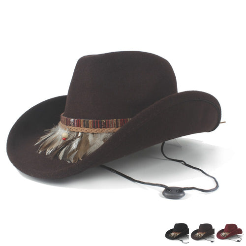 Wool Hollow Roll-up Brim  Sombrero Wind Rope Hat