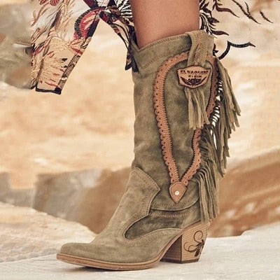 Mid High Heels Stylish Warm Fur  Low Heel Suede  Long Fringe Winter Embroidered Boot