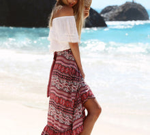 Load image into Gallery viewer, Boho Floral Skirt Full Skirt Beachwear Evening Party Skirt Casual Skirt
