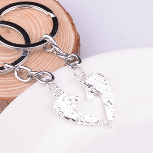 2PC/Set Family Charm Heart Punk Puzzle Wolf Head Key Chains