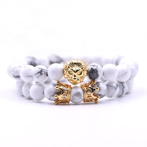 2pcs/set King Lion  Charm Crown Couple Braclet 5 kinds of Natural Stone Bead Bracelet