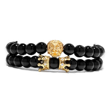 Load image into Gallery viewer, 2pcs/set King Lion  Charm Crown Couple Braclet 5 kinds of Natural Stone Bead Bracelet