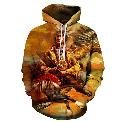 3d Native & Horse Hoody