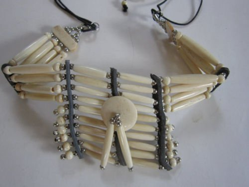 Antique White BREASTPLATE Choker Buffalo Bone Geronimo Regalia Pow Wow Indian Necklace