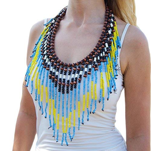 Native American Style Breastplate Necklace Yellow, Turquoise