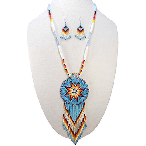 Handmade Turquoise Blue Native American Style Star Beaded Necklace Earrings Set