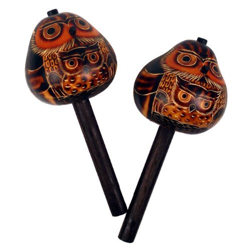 Owl Gourd Maraca Pair Hand Carved Peru Fair Trade Musical Instruments