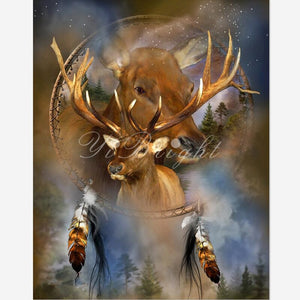 5D DIY Diamond Painting Spirit Of The Elk Cross Stitch Needlework